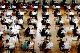 Students taking the SAT I mock test at center