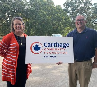 Carthage Community Foundation's Amy Cole and Innovative Industries Jeff Jones 10142020