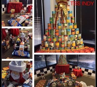 Each Christmas season, TBS employees bring in about two tons of canned goods and created seasonal structures. Food is then donated to local food cupboards